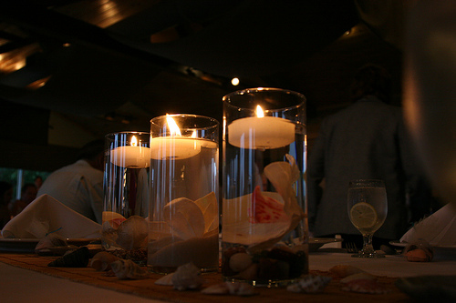 3 cylinder vase with floating candles