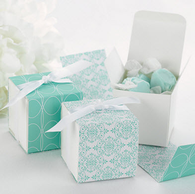 aqua damask favor boxes