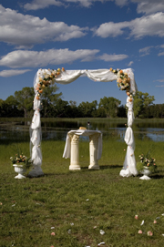 wedding arch decorated with tulle and flowerss