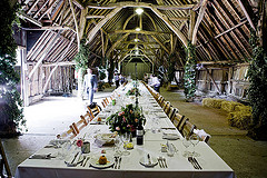 classic wedding reception in a barn