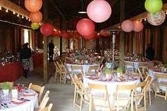 paper lanterns decorating a barn