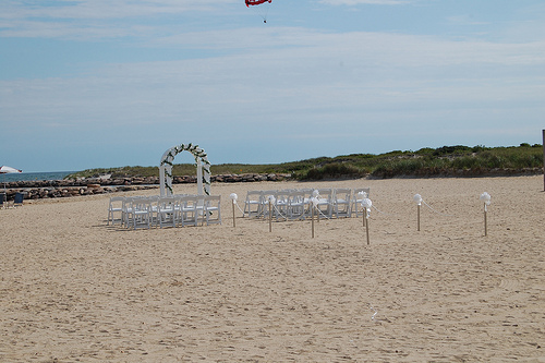 beach set up for a wedding ceremony