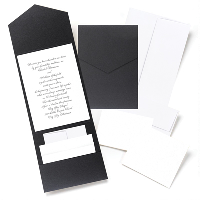 black pocket fold wedding invitation kit