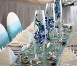 blue wedding reception tables