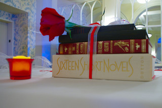 book and flower centerpiece