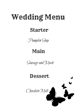 make your own wedding menu cards
