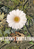 camo and daisy wedding invitation