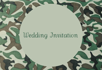 green camo wedding invitation