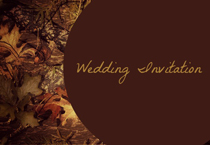 brown leaves wedding invitation