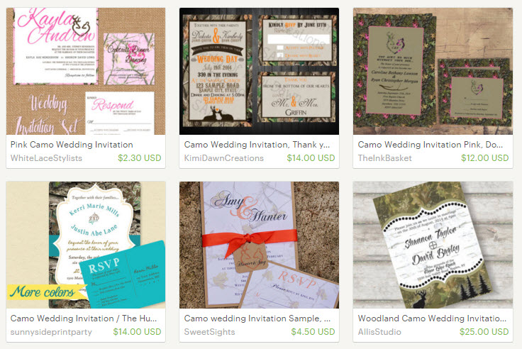 camo wedding invitations on Etsy