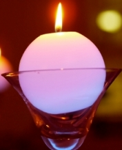 candle in glass