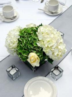 white and green hydrangea wedding centerpiece