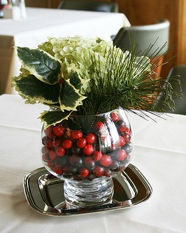cranberries, holly centerpiece