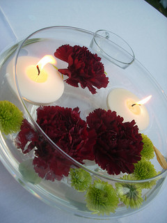 floating candle centerpiece with flowers