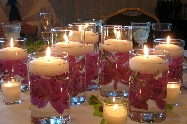 floating candle centerpiece with vases
