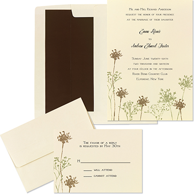 ivory and floral wedding invitation kit