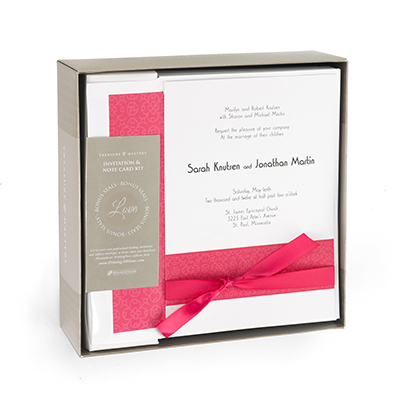 wedding invitation kit in fuschia