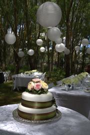 paper lanterns decorating a garden wedding