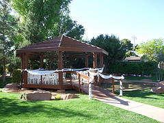 gazebo decorated with tulle