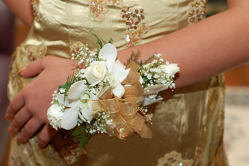 gold wedding corsage