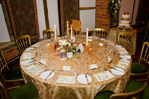 gold colored wedding table