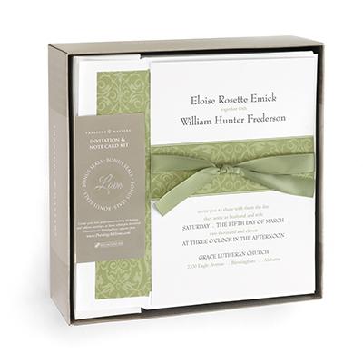 olive green wedding invitation kit