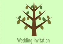 green tree wedding invite