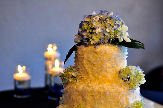 hydrangea wedding cake topper