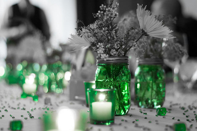 mason jar wedding centerpiece on a long table