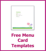 free wedding menu card templates