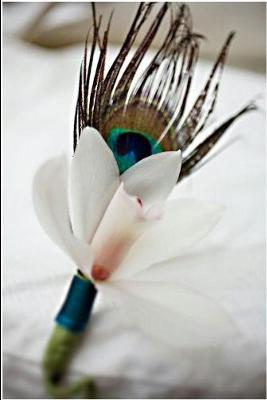 Peacock and Orchid Boutonniere, by welovebrides.com