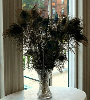 peacock feather tall centerpiece