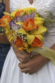 Purple And Yellow Wedding Bouquet