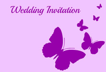 purple butterfly wedding invitation