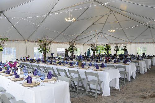 wedding decorated with fairy lights