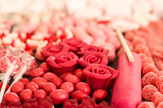 red candy for centerpieces