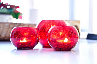red glass candle centerpieces