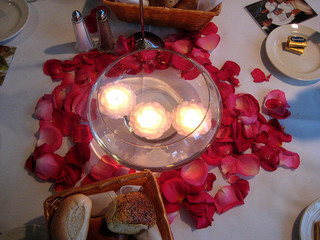 floating candles and red petals