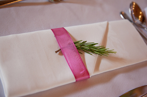 rosemary decorating wedding napkin