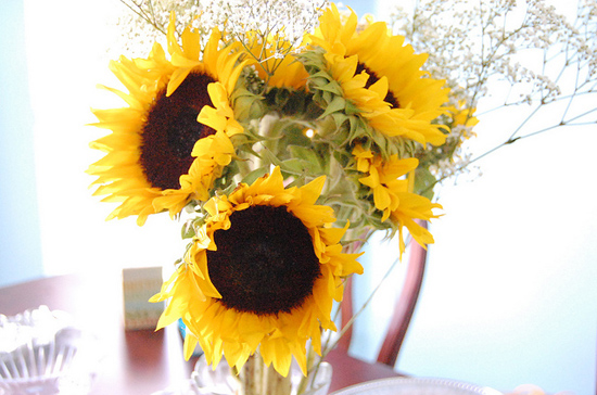 yellow sunflower wedding centerpiece