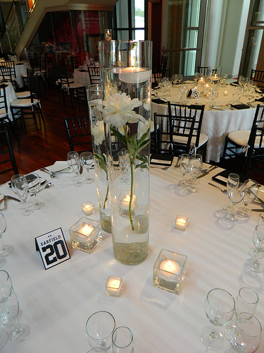 tall floating candle centerpiece