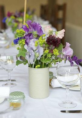 homemade tin can wedding vase