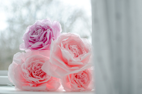 tissue paper pink wedding bouquet