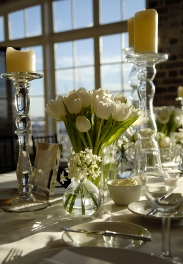 white tulip wedding centerpiece