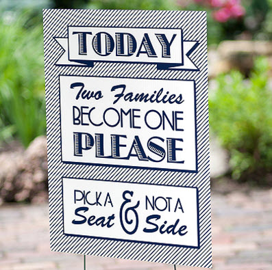 two families become one - wedding ceremony sign - available from Cheap Wedding Solutions