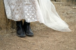 western boots and wedding dress