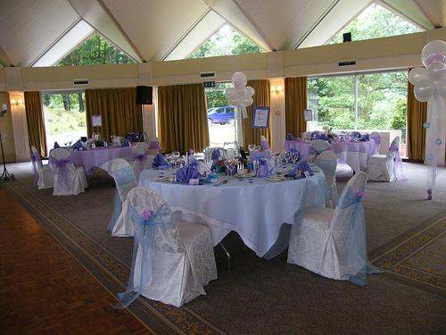 purple and white wedding reception