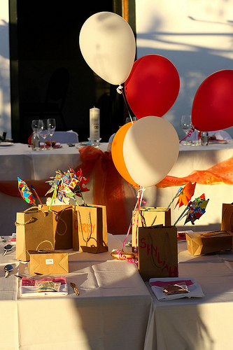 red and yellow wedding balloons
