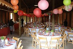 paper lanterns decorating a barn