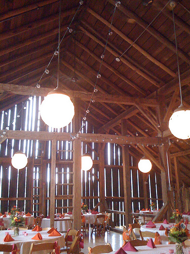 lights to decorate a barn wedding